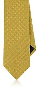 Barneys New York MEN'S PIN-DOT HERRINGBONE SILK-COTTON NECKTIE-YELLOW