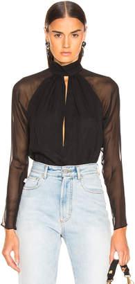 Fleur Du Mal Long Sleeve Keyhole Bodysuit in Black | FWRD
