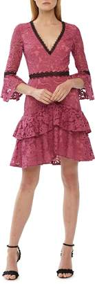 ML Monique Lhuillier Lace Trim Ruffle Dress