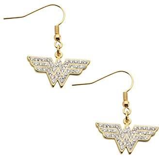 clear DC Comics Wonder Woman -Plated with Cubic Zirconia Hook Dangle Drop Earrings