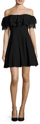Betsy & Adam Off-Shoulder Lace Ruffle Fit-and-Flare Dress