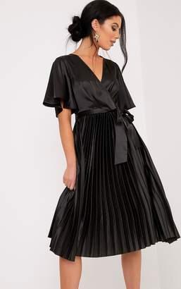 PrettyLittleThing Mairee Black Satin Pleated Midi Dress