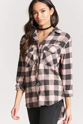 Forever 21 Distressed Buffalo Plaid Shirt