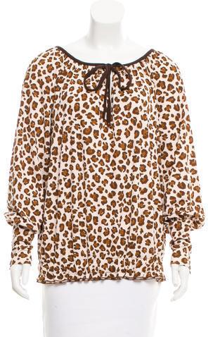 Tory BurchTory Burch Long Sleeve Leopard Print Blouse