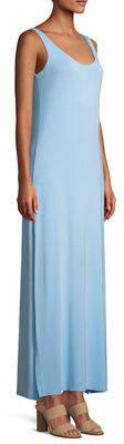 Joan Vass Side-Slit Jersey Maxi Slip Dress