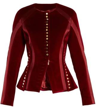 Altuzarra Cavendish Collarless Stretch Cotton Velvet Jacket - Womens - Burgundy