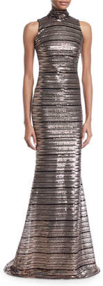 Badgley Mischka Sleeveless Striped Sequin Trumpet Gown