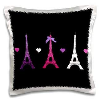 Love Hearts 3dRose Girly Eiffel Tower - hot pink purple black Paris towers stylish French modern France, Pillow Case, 16 by 16-inch