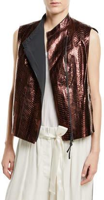 Brunello Cucinelli Python Glossy Asymmetric Zip-Front Vest