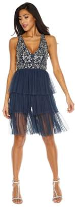 LACE & BEADS Embellished Tiered Fit & Flare Dress