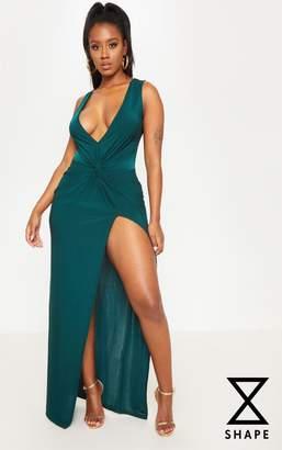 PrettyLittleThing Shape Emerald Green Slinky Wrap Detail Maxi Dress