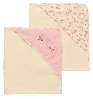 Little Me Baby's Two-Pack Rose Velour Hooded Towels