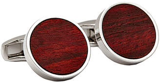 Hart Schaffner Marx Hsm Rhodium Plated Red Wood Cufflinks