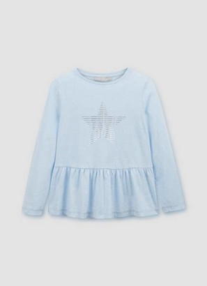 Mint Velvet Blue Star Print Peplum T-Shirt