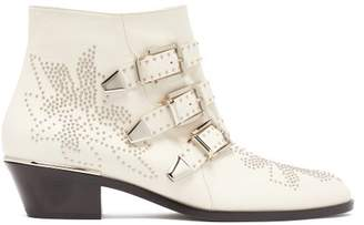 Chloé Susanna Leather Ankle Boots - Womens - White