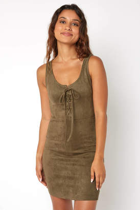 Flying Tomato Lace Up Front Sleeveless Suede Dress