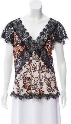 Rodarte 2016 Lace-Trimmed Silk Top
