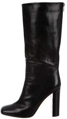 Celine Square-Toe Leather Mid-Calf Boots