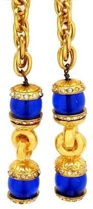 Chanel CC Logo Gold Tone Metal Blue Stone Rhinestone Charms Lariat Necklace