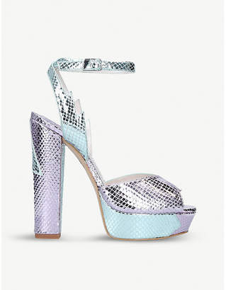 Terry De Havilland Sofia metallic snake-effect leather heeled sandals