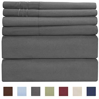 +Hotel by K-bros&Co Full Size Sheet Set - 6 Piece Set - Hotel Luxury Bed Sheets - Extra Soft - Deep Pockets - Easy Fit - Breathable & Cooling Sheets - Wrinkle Free - Dark Gray - Grey Bed Sheets - Fulls Sheets - 6 PC