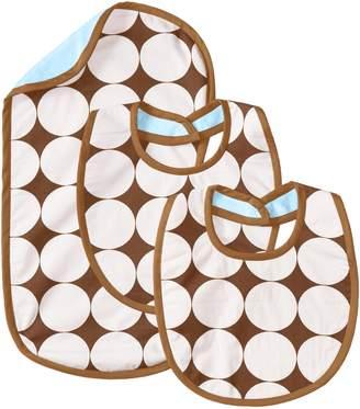 Bacati Dots Blue/Chocolate Bibs and Burps Set