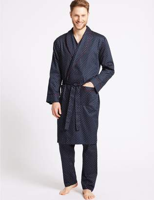 Marks and Spencer Pure Cotton Printed Dressing Gown with Belt