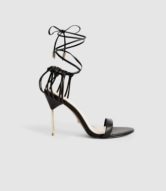 Reiss ZHANE LEATHER STRAPPY WRAP SANDALS Black