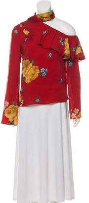 Magda Butrym Hanoi Silk One-Shoulder Top