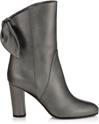 Jimmy Choo MALENE 85 Anthracite Metallic Grainy Leather Boots