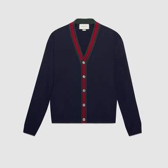 Gucci Wool cardigan with Web