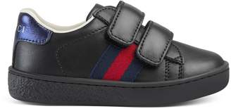 Toddler leather sneaker with Web $295 thestylecure.com
