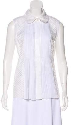 Tory Burch Pleated Eyelet Top