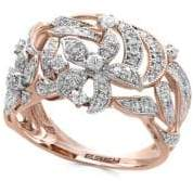 Effy Diamond and 14K Rose Gold Flower Ring