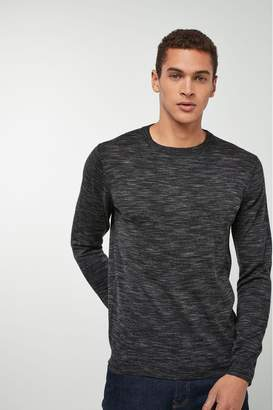 Next Mens Charcoal Merino Crew - Grey