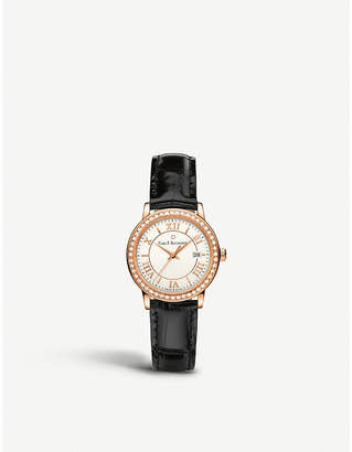 Rosegold CARL F BUCHERER 00.10312.03.15.11 Adamavi rose-gold sapphire crystal diamond and leather watch