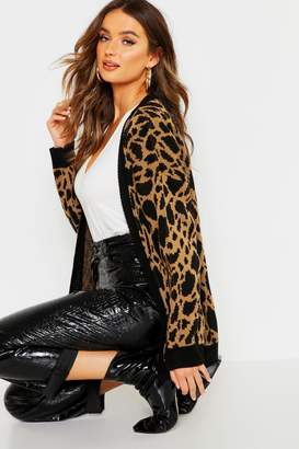 boohoo Leopard Print Knitted Cardigan