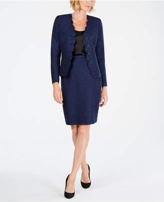 Le Suit Scalloped Skirt Suit