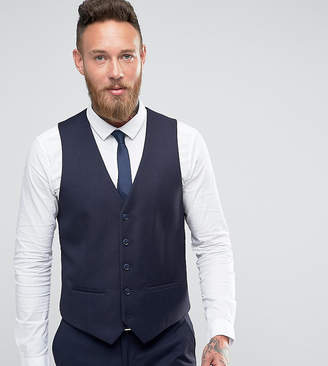 Farah Smart skinny flannel vest in navy Exclusive at ASOS