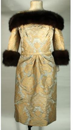 Bill Blass excellent (EX Mink & Silk Evening Dress sz 10