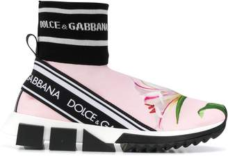 Dolce & Gabbana ribbed-cuff floral logo sneakers