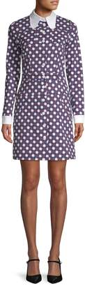 Carven Women's Checkered Floral Shirt Dress