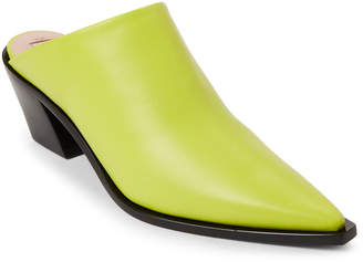Emilio Pucci Green Leather Pointed Toe Mules