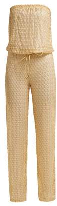 Melissa Odabash Grace Strapless Crochet Knit Jumpsuit - Womens - Gold