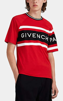 Givenchy Men's Logo-Embroidered Striped Cotton T-Shirt - Red