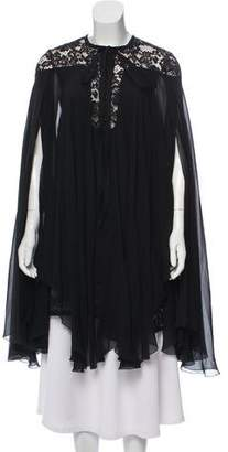 Elie Saab Lace-Accented Silk Tunic