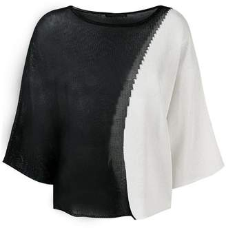Fabiana Filippi sheer two-tone knitted top