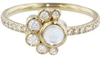Mociun Moonstone and Diamond Crescent Ring