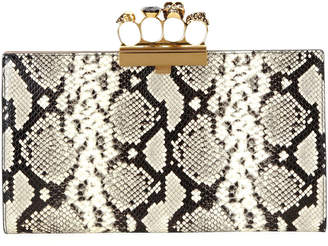 Alexander McQueen Skull Four-Ring Snake-Embossed Flat Pouch Clutch Bag