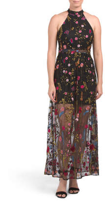 All Over Embroidered Halter Maxi Dress